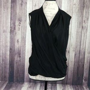 Helmut Lang black sleeveless wrap front blouse